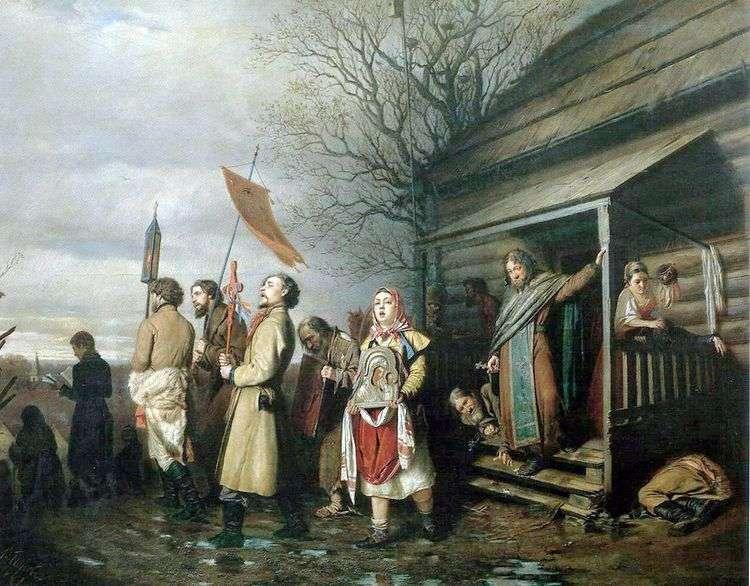 Сельский крестный ход на пасхе   Василий Перов