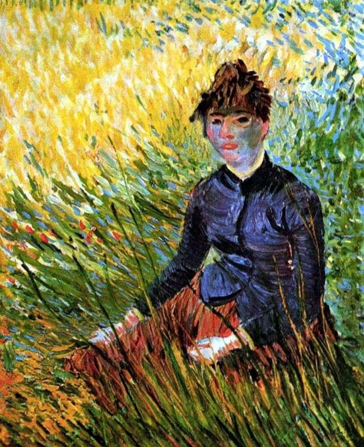 Женщина сидящая в траве   Винсент Ван Гог