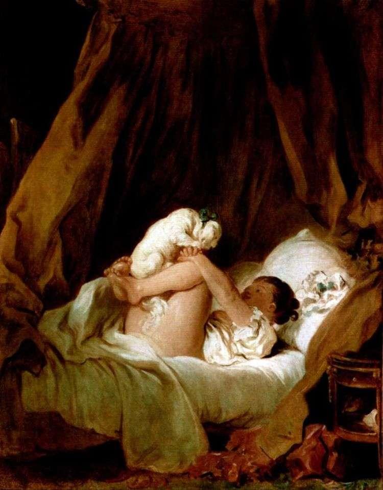 Девочка в постели, играющая с собачкой   Жан Оноре Фрагонар