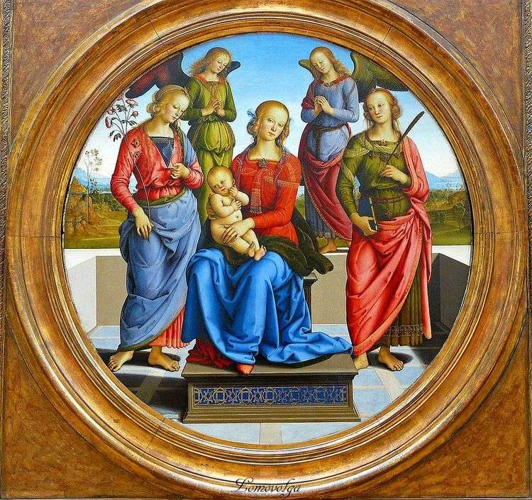 Мадонна с Младенцем в окружении ангелов, св. Розы и св. Екатерины   Пьетро Перуджино