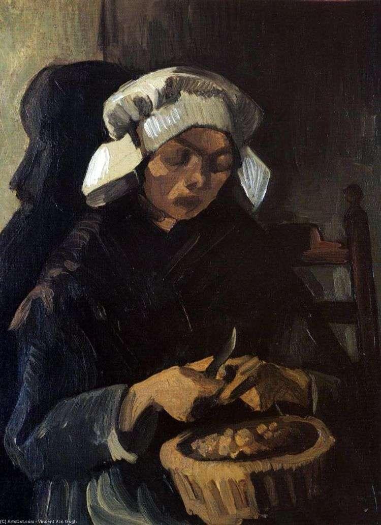 Крестьянка очищающая картофель   Винсент Ван Гог
