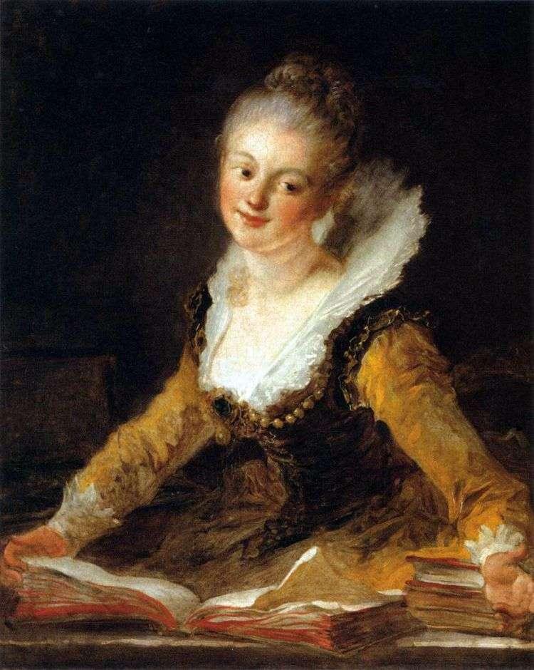 Портрет дамы в образе музы Науки   Жан Оноре Фрагонар