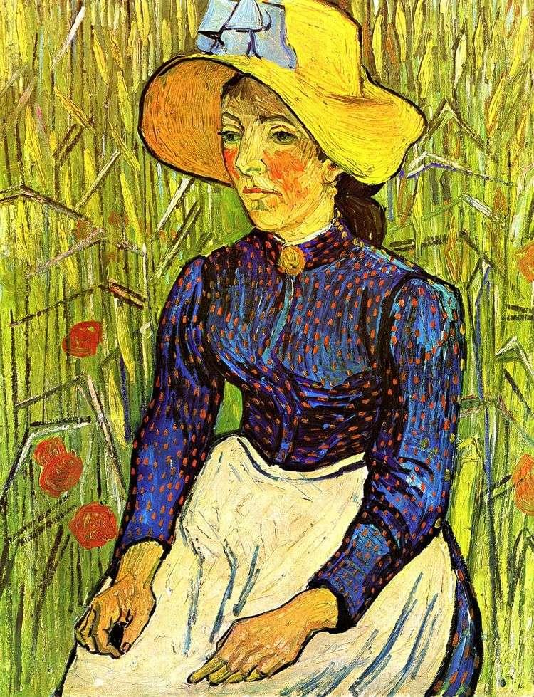 Молодая крестьянка в соломенной шляпе   Винсент Ван Гог