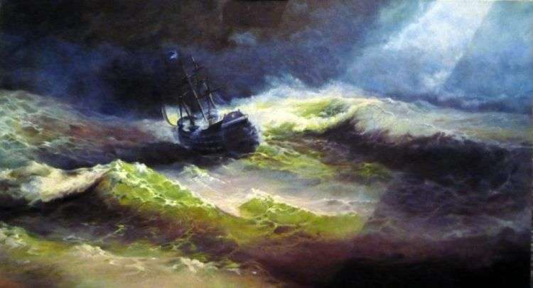 Корабль Императрица Мария во время шторма   Иван Айвазовский