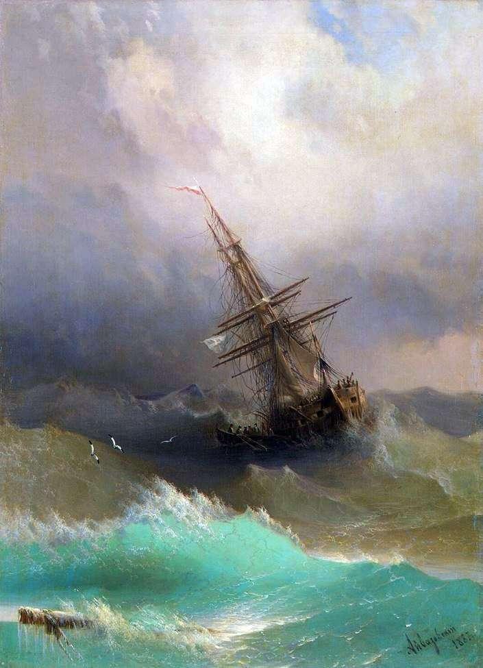 Корабль среди бурного моря   Иван Айвазовский