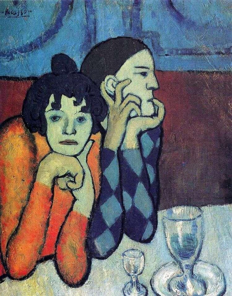 Арлекин и его подружка   Пабло Пикассо
