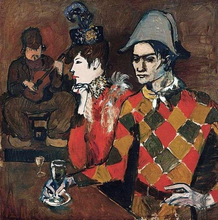 В кабаре Проворный кролик или Арлекин с бокалом   Пикассо Пабло