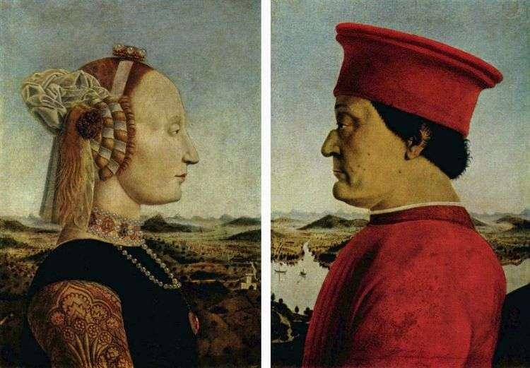 Портрет герцога Федериго Монтефельтро и герцогини Баттисты Сфорца   Пьеро делла Франческа