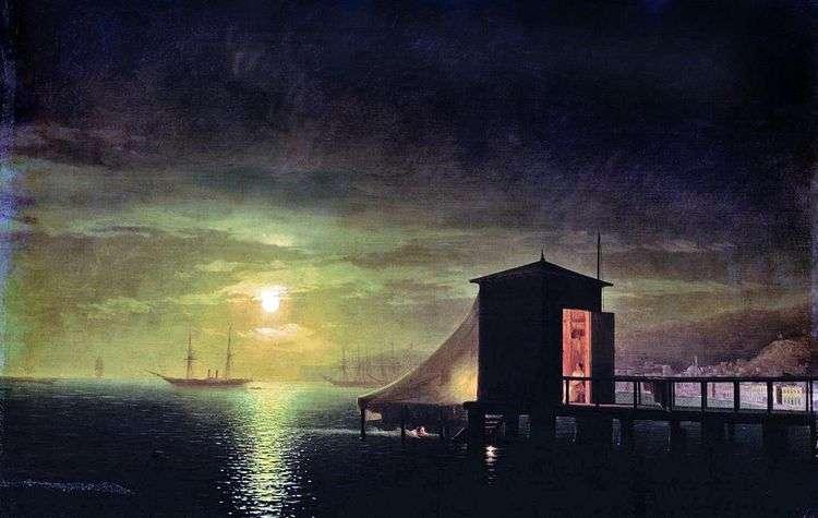 Лунная ночь. Купальня в Феодосии   Иван Айвазовский