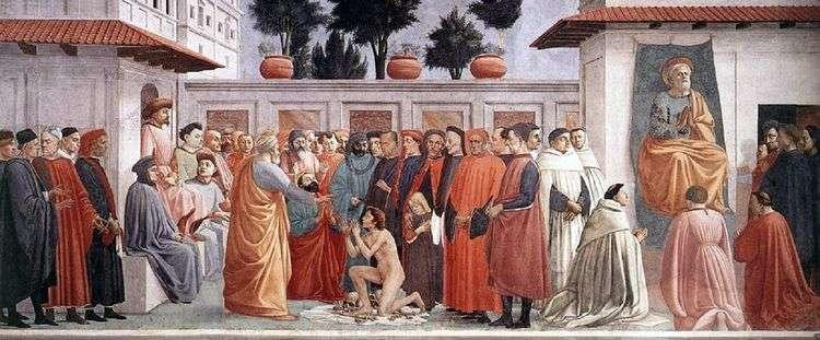 Воскрешение сына Теофила и апостол Петр на кафедре   Мазаччо