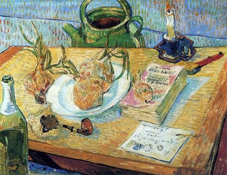Натюрморт с луком и чертежной доской   Винсент Ван Гог