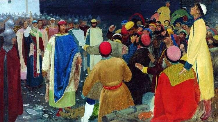Князь Глеб Святославович убивает волхва на Новгородском вече (Княжий суд)   Андрей Рябушкин