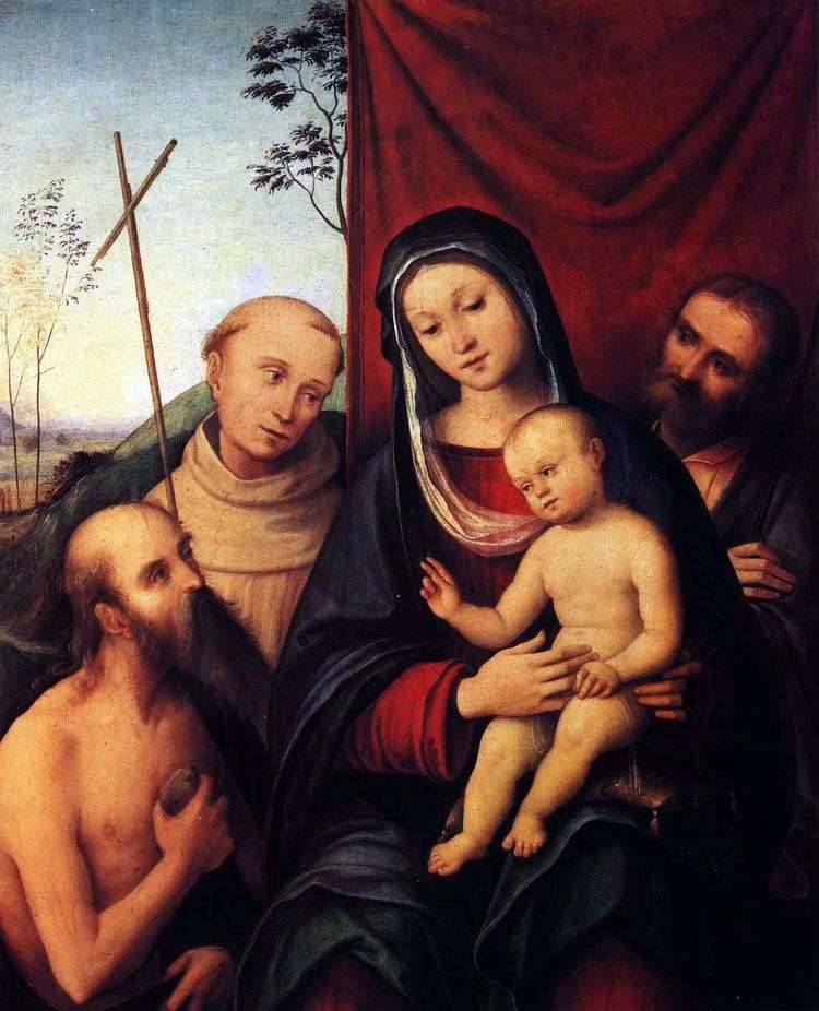 Святое семейство со святым Иеронимом и святым Франциком Ассизским   Коста Лоренцо