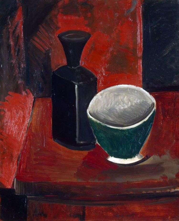 Зеленая миска и черная бутылка   Пабло Пикассо