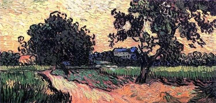Пейзаж с Шато Овер на закате   Винсент Ван Гог