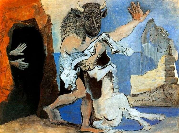 Минотавр с мертвой лошадью перед пещерой   Пабло Пикассо