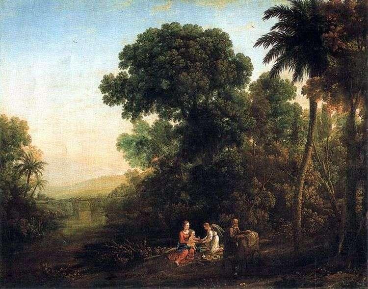 Пейзаж со сценой отдыха на пути в Египет   Клод Лоррен