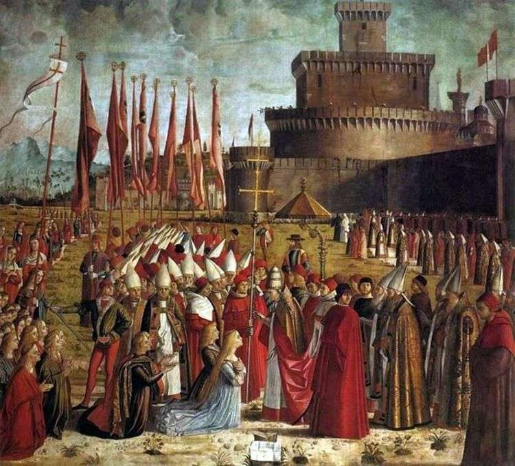 Встреча паломников с папой Кириаком   Витторе Карпаччо