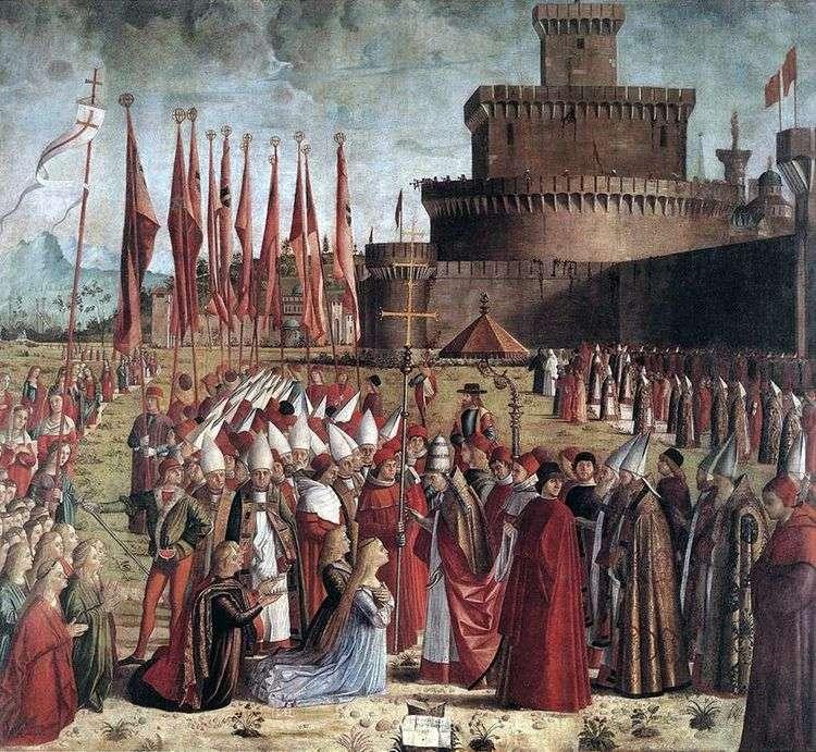 Встреча святой Урсулы и паломников с римским папой Кириаком   Витторе Карпаччо