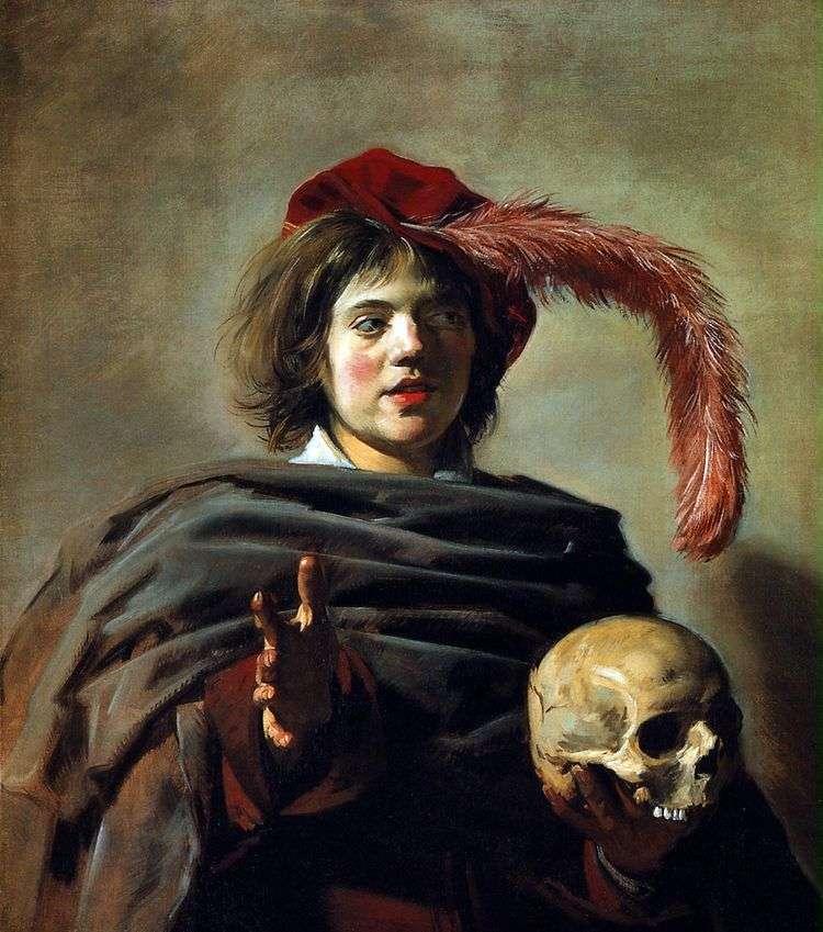 Портрет молодого человека с черепом (Ванитас)   Франс Халс