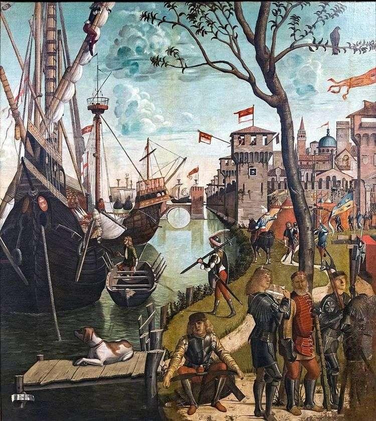 Прибытие святой Урсулы и паломников в Кельн   Витторе Карпаччо