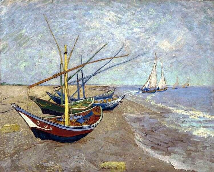 Рыбачьи лодки на пляже от Сент Мари   Винсент Ван Гог