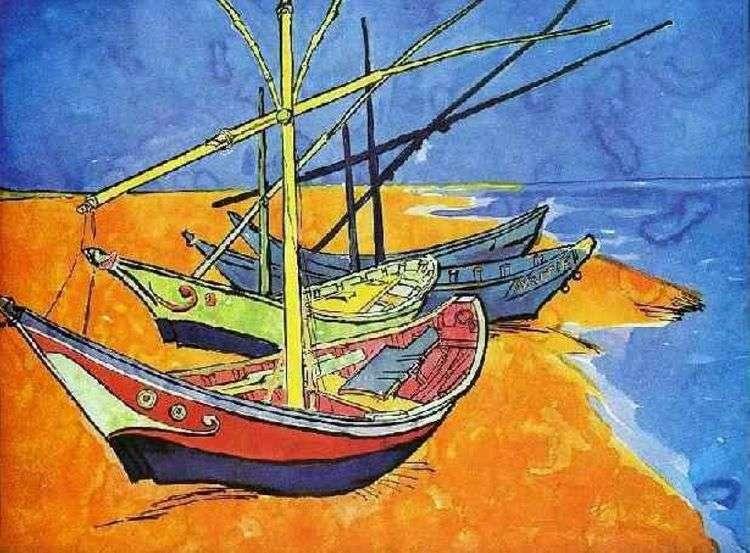 Рыбачьи лодки на пляже от Сент Мари (акварель)   Винсент Ван Гог