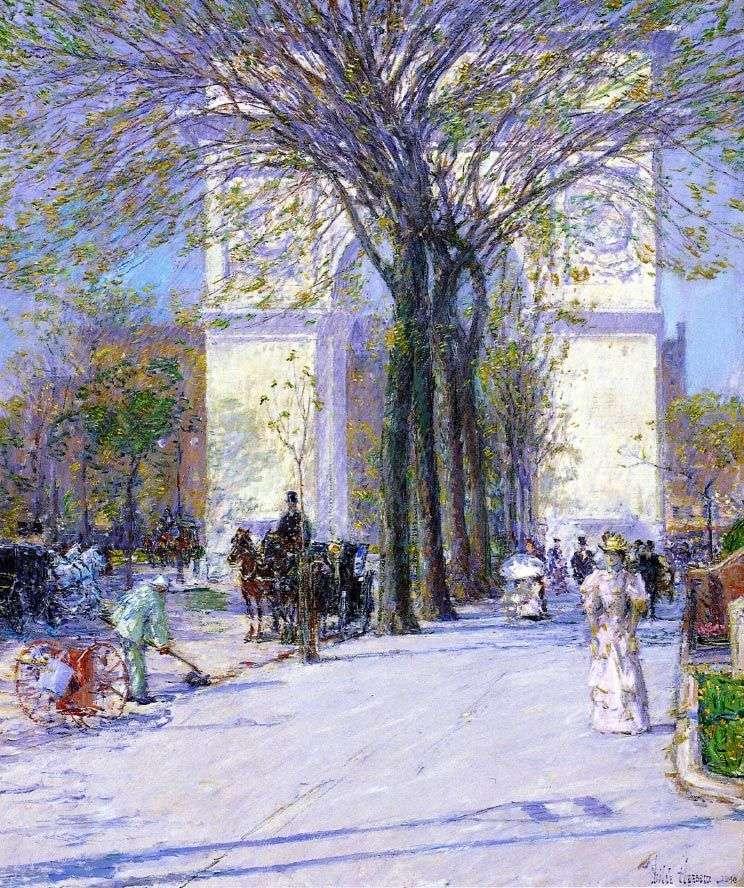 Вашингтон арч в Нью Йорке весной   Чайлд Хассам