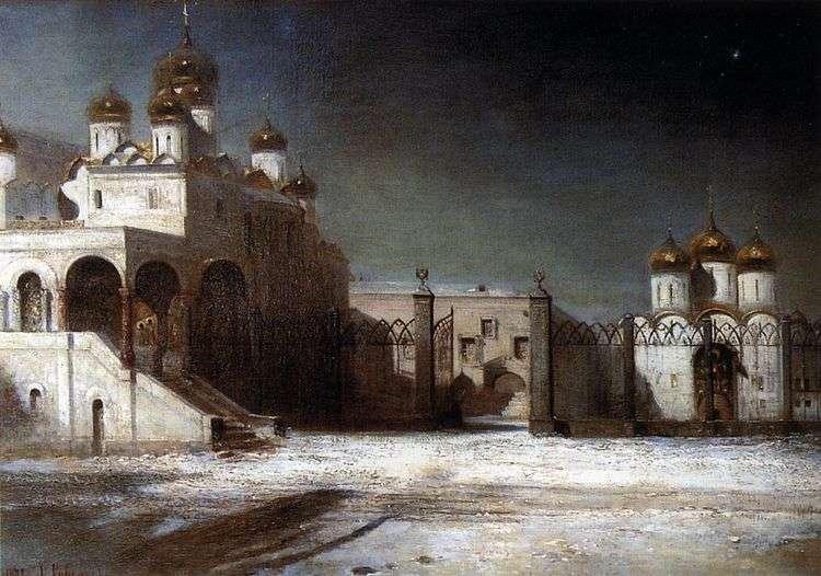 Соборная площадь в Московском Кремле ночью   Алексей Саврасов