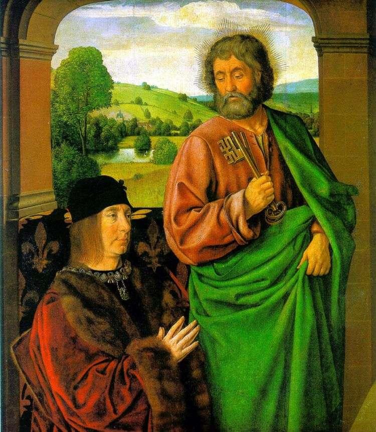 Пьер II, герцог Бурбонский со св. патроном апостолом Петром   Жан Хей