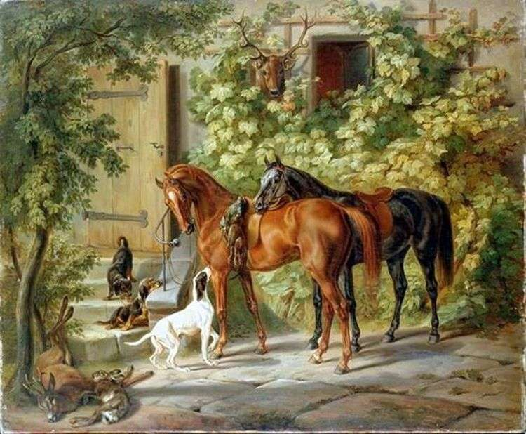 Лошади у крыльца   Адам Альбрехт