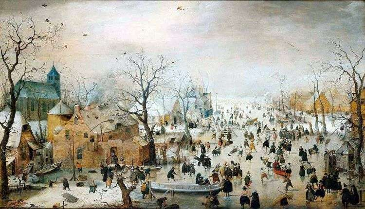 Катание на коньках за городскими стенами   Аверкамп Хендрик