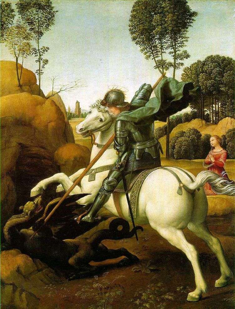 Битва святого Георгия с драконом   Рафаэль Санти