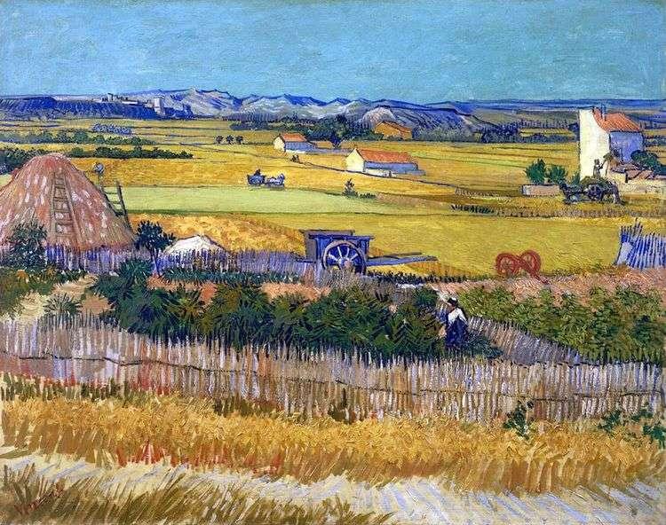 Урожай в Ла Кро, и Монмажор на заднем плане (Сбор урожая)   Винсент Ван Гог