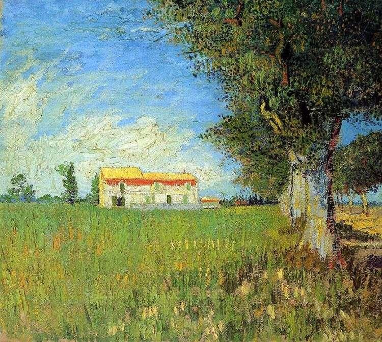 Фермерский дом на пшеничном поле   Винсент Ван Гог