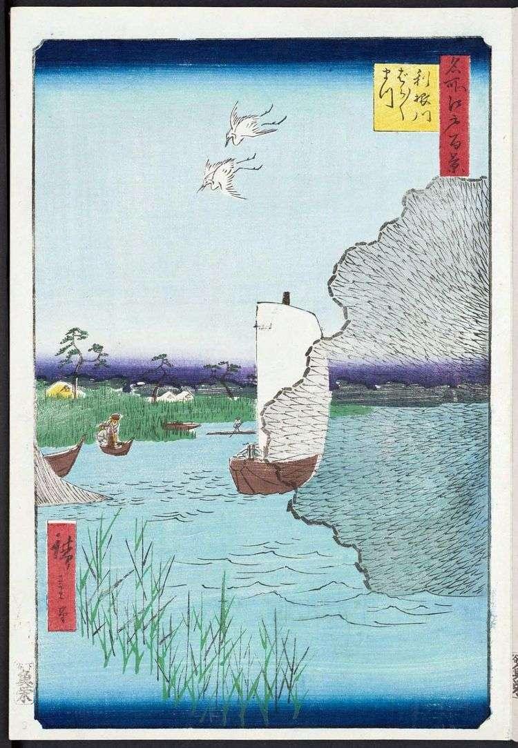 Барабара мацу на берегу Тонэгава   Утагава Хиросигэ