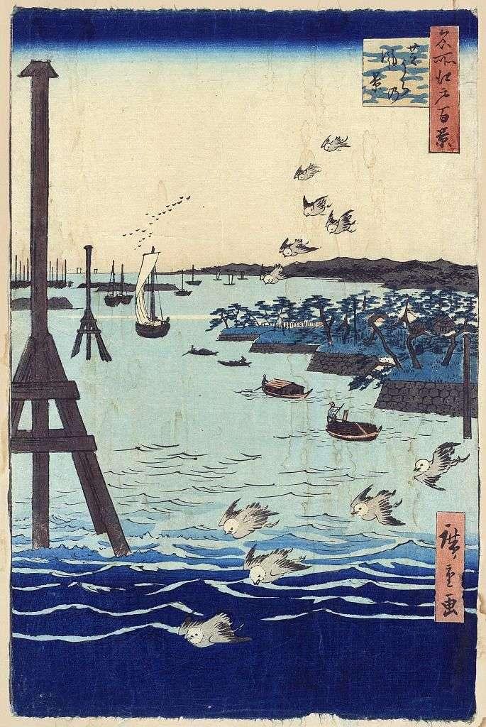 Бухта в Сибаура. Картина, графика, японские мотивы, пейзажи   Утагава Хиросигэ