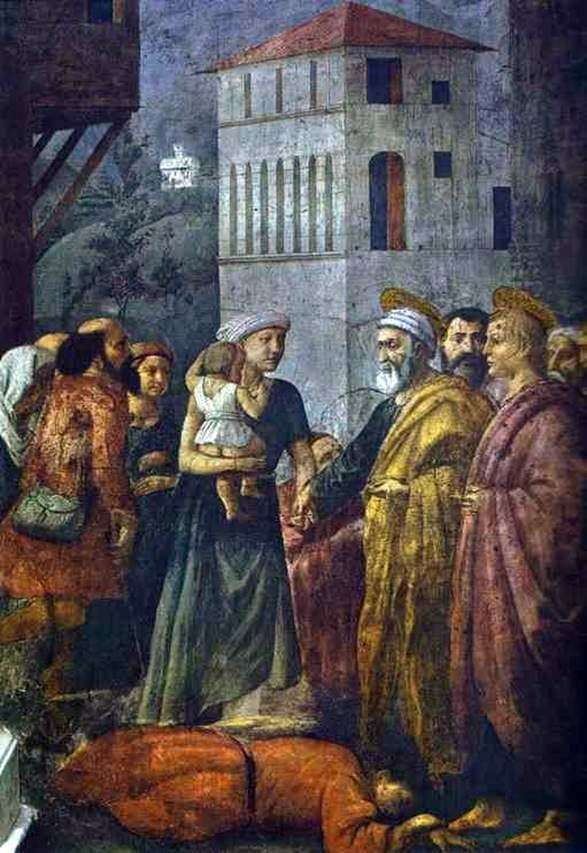 Святой Петр, распределяющий имущество общины между бедными   Мазаччо
