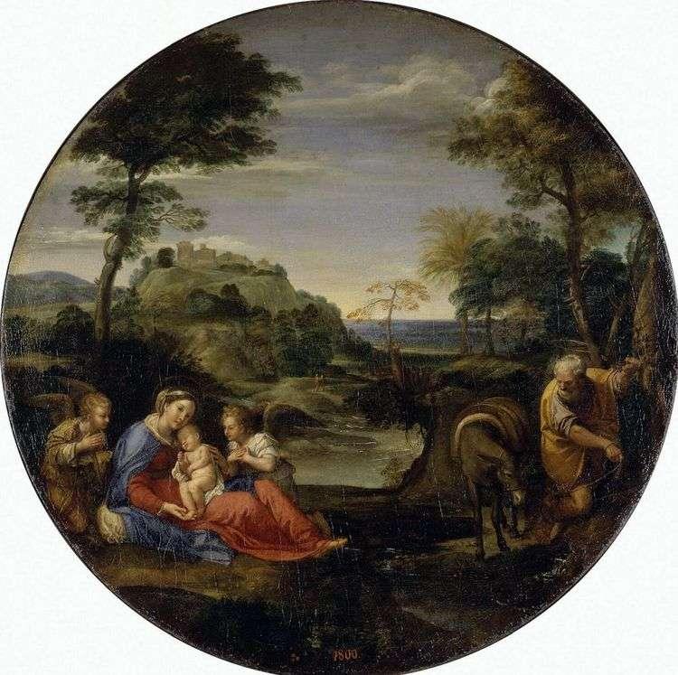 Пейзаж со сценой отдыха Святого семейства на пути в Египет   Аннибале Карраччи