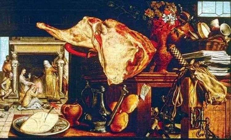 Натюрморт со сценой посещения Христом Марии и Марфы на заднем плане   Артсен Питер