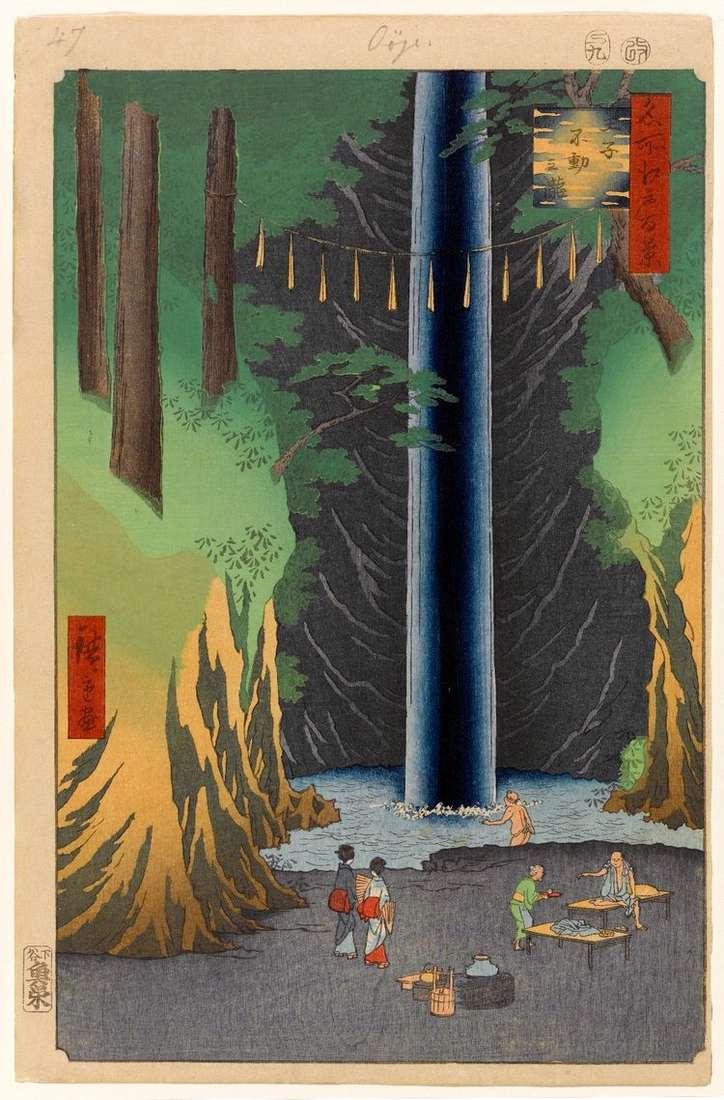 Водопад Фудо но таки в Одзи   Утагава Хиросигэ