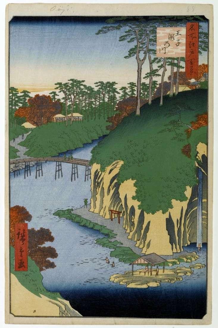 Местность Такиногава в Одзи   Утагава Хиросигэ
