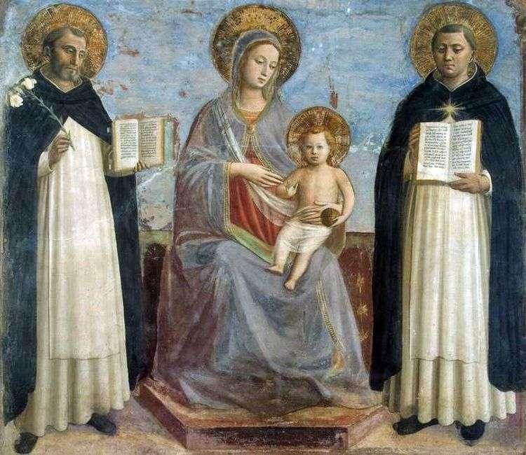 Мадонна с Младенцем, святым Домиником и святым Фомой Аквинским   Фра Беато Анджелико