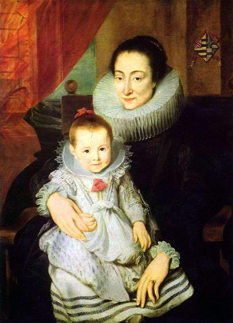 Портрет Марии Клариссы, супруги Яна Вовериуса, с ребенком   Энтони Ван Дейк