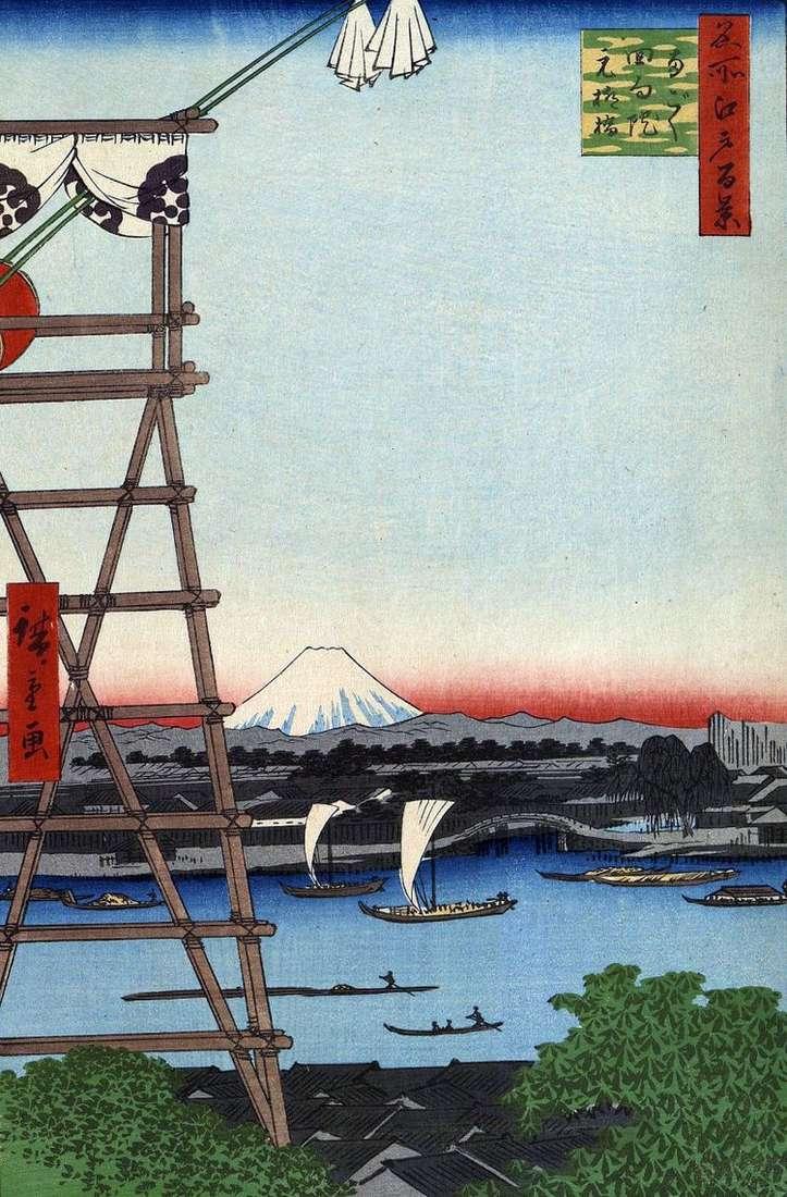 Монастырь Экоин в Регоку и мост Мото Янагибаси   Утагава Хиросигэ