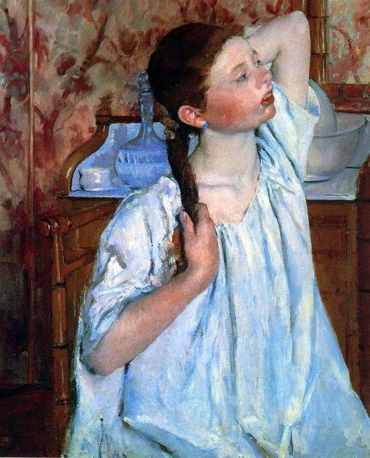 Девушка причесывает волосы   Мэри Кассат