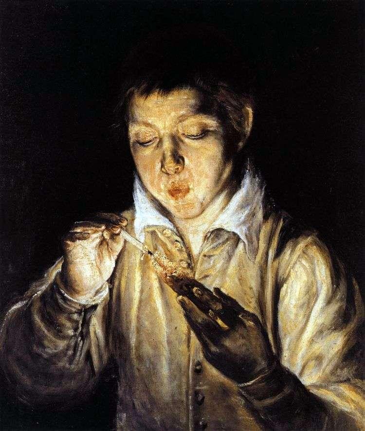 Мальчик, раздувающий лучину   Эль Греко