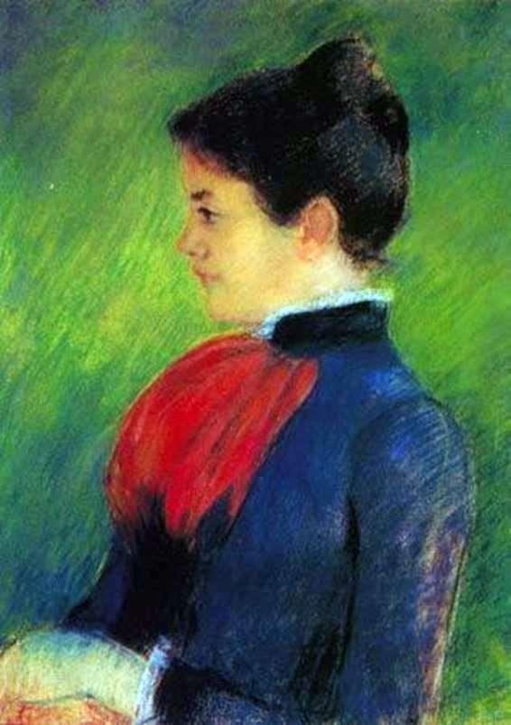 Женщине в синей блузе с красным галстуком   Мэри Кассат