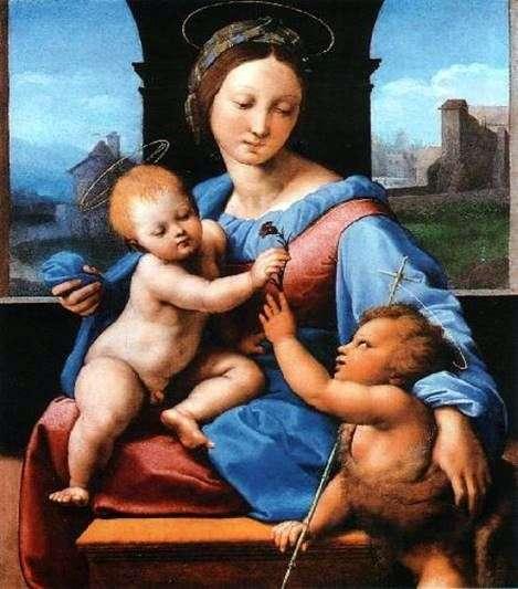 Мадонна с Младенцем и маленьким Иоанном Крестителем   Рафаэль Санти