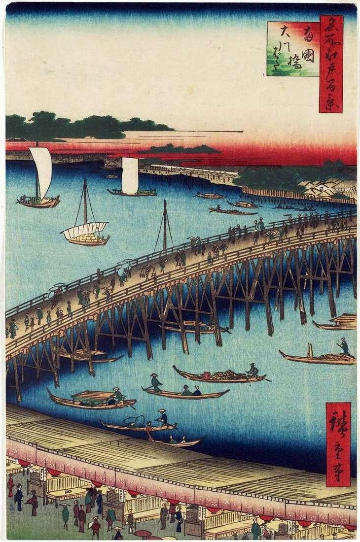 Мост Регокубаси и набережная Окавабата   Утагава Хиросигэ